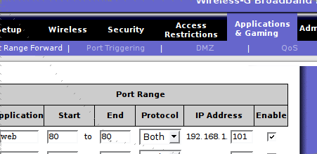 Port forwarding on linksys wireless router