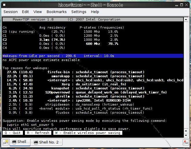 powertop screenshot